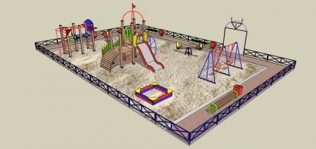 В Актау начали установку новых детских площадок внутри микрорайонов