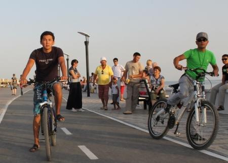 На набережной Актау прошла акция в поддержку Казахстанских олимпийцев