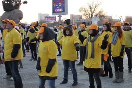 В Актау около 250 человек вышли на общегородскую зарядку