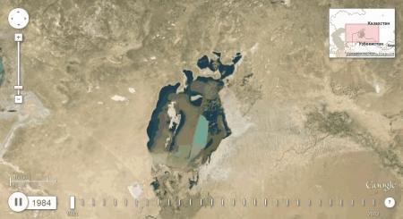 Google показал как высыхало Аральское море