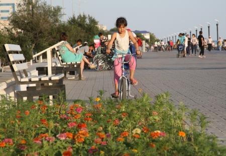 Велосипеды и детские машинки, которые сдаются в прокат на набережной Актау, становятся причиной гибели цветочных клумб