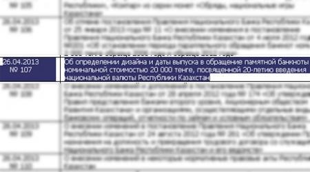 Купюра в 20 тысяч тенге появится в Казахстане