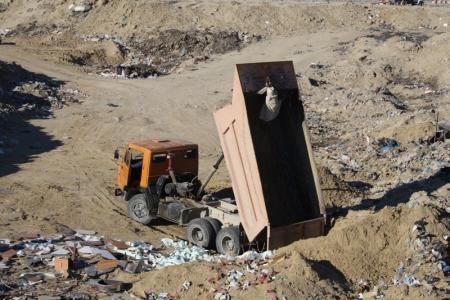 На городском полигоне в Актау уничтожено несколько сотен килограммов мясной, хебной и молочной продукции