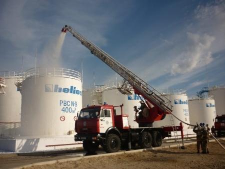 Мангистауские пожарные провели учения на нефтебазе «Гелиос»