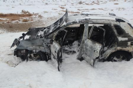 В Актау водитель сгоревшего автомобиля попал в больницу
