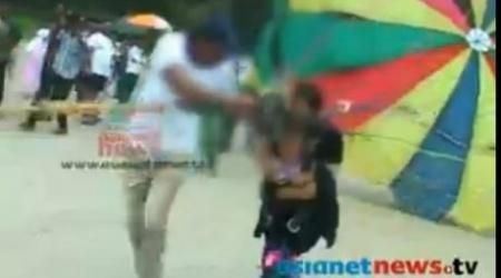 Родители прокатили младенца на привязанном к машине параплане
