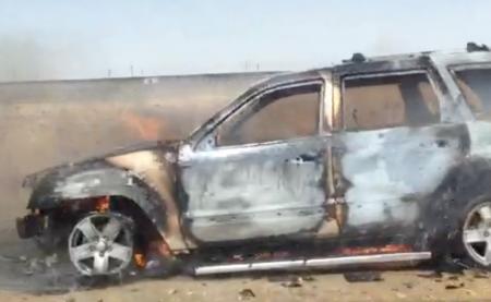 На автотрассе Актау-Курык полностью сгорел автомобиль Jeep Grand Cherokee