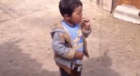 Авторов видео с пьющим и курящим маленьким мальчиком разыскивает МВД РК
