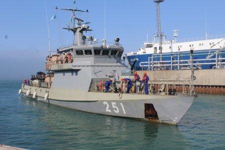 В Актауском морском порту состоялась торжественная встреча кораблей-участников конкурса «Каспийское море-2015»