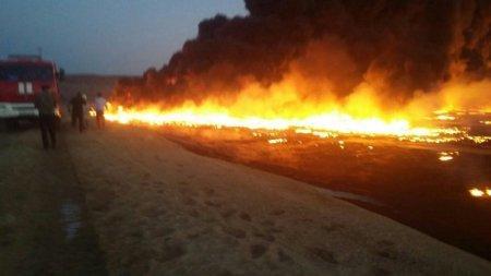 В ликвидации возгорания амбара с нефтяными отходами в Мангистауской области задействовали 33 единицы техники