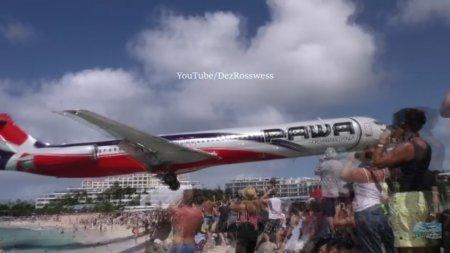 Самолет совершил посадку над головами отдыхающих на острове Сен-Мартен