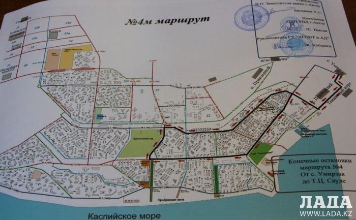 В Актау с 15 февраля начнет курсировать новый автобусный маршрут №4М