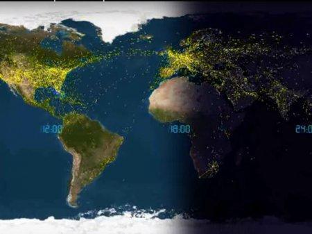 Передвижение всех самолетов вокруг Земли за сутки показали в минутном видео