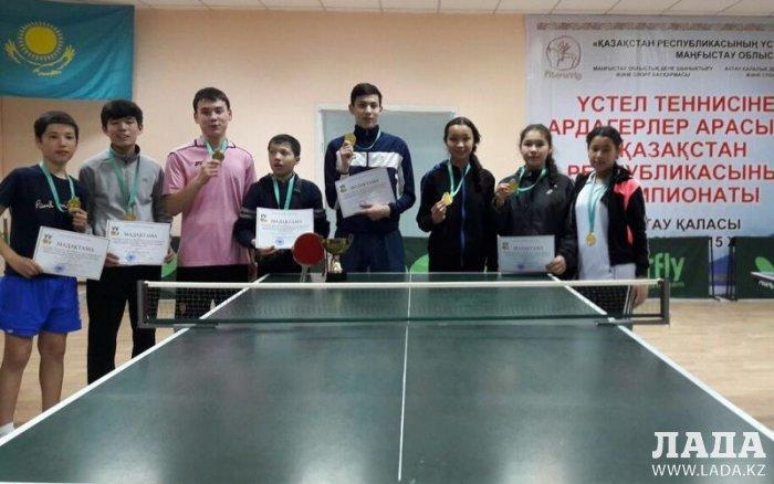 Команда школьников из Жанаозена победила в областной спартакиаде по настольному теннису