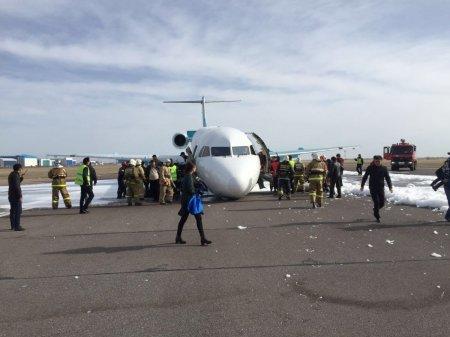 Первое видео после аварийной посадки в Астане самолета Bek Air
