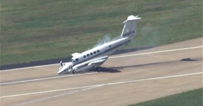 Опубликовано видео посадки самолета с неисправным шасси