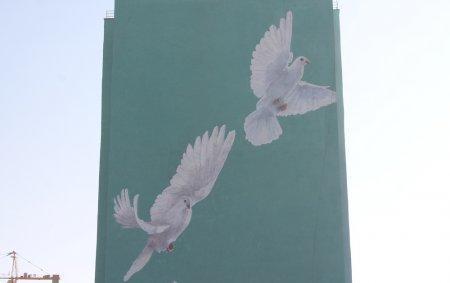 Огромное граффити с голубями появилось на двух новостройках в Актау