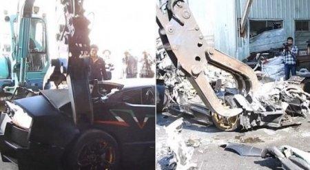 Lamborghini за 300 тысяч долларов пустили под пресс за нарушение правил движения